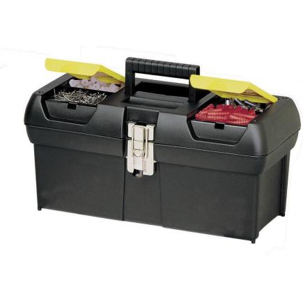 Toolbox With Metal Hinges, 2 Organizers And Tray