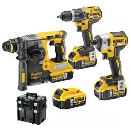 """SDS-Plus Cordless hammer + Percussion Drill Driver + 1/4"""" Impact Wrench + 4 5 Ah. batteries"""