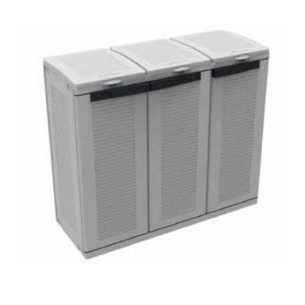 3 door resin cabinet for differentiated waste collection with an inner adjustable shelf
