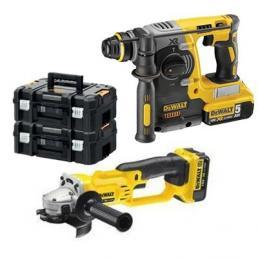 SDS-Plus Cordless hammer + Angle Grinder + 2x 18 V 5Ah batteries
